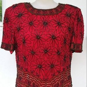 ADRIANNA PAPELL RED & BLACK BEADED BLOUSE LG, MED